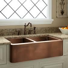 Farmhouse Style Kitchen Sinks 33 Aberdeen 60 40 Offset Bowl Copper Farmhouse Sink Kitchen