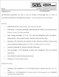 Sample Resume For 1 Year Experience In Manual Testing by Sas Programmer Developer Free Resume Template