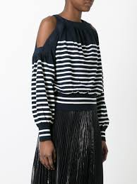 sacai striped cold shoulder top 841 navy off white women clothing