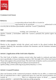 download quebec commercial lease agreement form for free tidyform