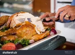 thanksgiving carving slices roast turkey stock photo 327444887