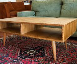 mid century modern style coffee table made with plyboo bamboo