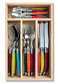 Coloured Kitchen Knives Set Laguiole 24pc Cutlery Set In Tray Multi Coloured Wild Flowers