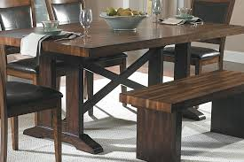 dining room black leather dining bench with trestle dining table
