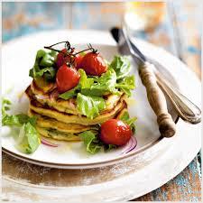 cuisiner la ricotta pancakes à la ricotta et au basilic salade de tomates et de