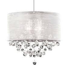 Drum Shade Pendant Light Five Light Chrome Clear Crystals Glass Drum Shade Pendant Drum