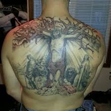 men upper back cover up with religious jesus christian tattoo