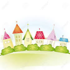 colorful view with cute house and trees royalty free cliparts