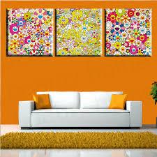 Art For Living Room 3 Panel Modern Art Painting Takashi Murakami Sunflower Wall Art