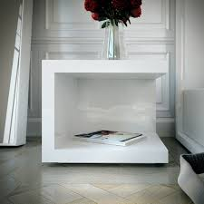 Nightstand With Shelf White Wooden C Shaped Nightstand With Shelf On Ceramics Flooring