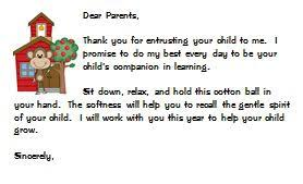 special letter to parents freebie little priorities
