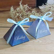 vintage wedding favors purple triangular gift box with starry sky galaxy vintage wedding