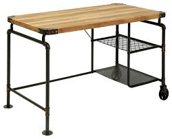 industrial antique black metal writing desk with wood top wire