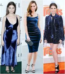 anna kendrick u0027s blue velvet dresses celebrity fashion