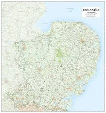 Norfolk County Wall Map Framed East Anglia County Laminated Wall Map Amazon Co Uk Office Products