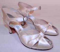 wedding shoes ankle vintage bullock s wilshire white silk satin ankle evening