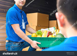 food basket delivery delivery taking food basket car stock photo 602981804