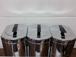 4 kromex stainless steel chrome black kitchen canisters set mid