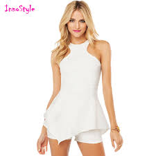 womens dressy jumpsuit sleeveless open back dressy rompers summer white