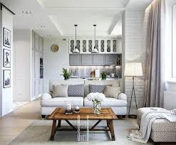 Flat Interior Design Interior White Small Apartment One Space Interior Design