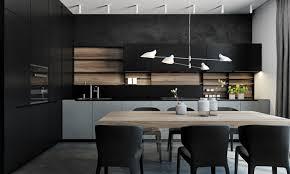 cuisine en noir modele de cuisine noir et gris idée de modèle de cuisine