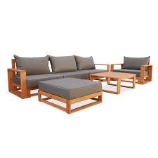 canapé jardin salon de jardin mobilier table et chaises en resine bois