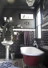 Red And Black Bathroom Ideas Colors Black Bathroom With Dark Cherry Red Clawfoot Tub Baths And