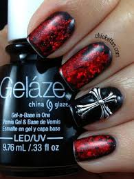 black and red gothic nails with cross u0026 gelaze liquid leather
