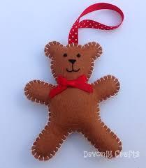 teddy decorations christmas teddy felt decoration x1 ornaments