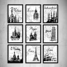 World Map Wall Decor by Wedding Gift Typography Art Travel Poster London Print Paris Wall