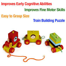 pull along toys wooden train set for toddlers stacking wooden