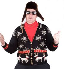 ugly tacky christmas party winner white reindeer cardigan sweater