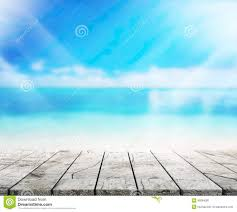 wood table top background sea and sky 3d render stock photo