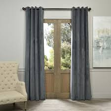 exclusive fabrics natural grey grommet velvet blackout curtain