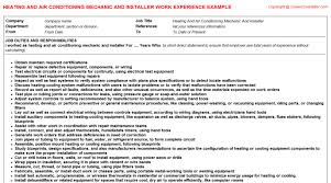 Sample Resume For Air Conditioning Technician by Heating And Air Conditioning Mechanic And Installer Job Title Docs