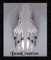 Black And Silver Chandelier Earrings Handcrafted Chandelier Earrings