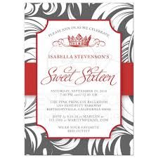 Sweet 16 Invitations Cards Sweet 16 Party Invitations Red Fancy Crown