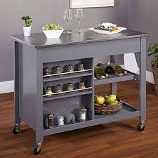 contemporary mobile kitchen island rolling white cart wood frame