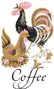 jazzy pink black retro rooster kitchen canister decals