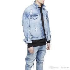 light blue denim jacket mens mens oversized distressed denim jackets streetwear kanyye west light