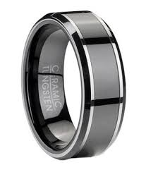 ceramic wedding bands men s tungsten wedding ring with black ceramic inlay