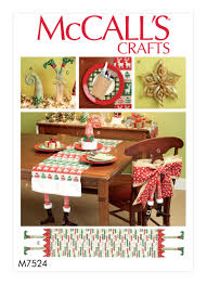 mccall u0027s 7524 christmas table runners decorations chair back