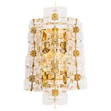 Wall Lighting Sconces Large Gold Plated Brass And Glass Brutalist Wall Light Sconce By