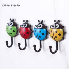 Ladybug Bathroom Towels 2pcs Wall Hooks Sucker Nail Hook Creative Ladybug Bee Cartoon