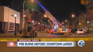 fire burns historic downtown lapeer youtube