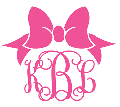 bow monogram custom monogrammed preppy bow decal