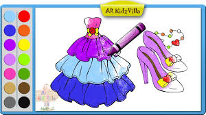 color barbie dress and shoe coloring page and learn colors for