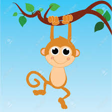 monkey hanging from a tree on abstract sky background royalty free