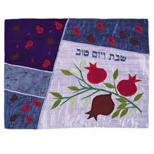 shabbat challah cover pomegranates blue silk shabbat challah cover by yair emanuel