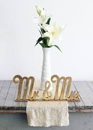 Mr And Mrs Sign For Wedding Gold Wood Mr U0026 Mrs Wedding Sign Wedding Decorations At Afloral Com